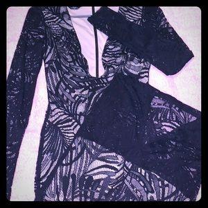 Bebe, Long sleeve Lace Bodycon Dress